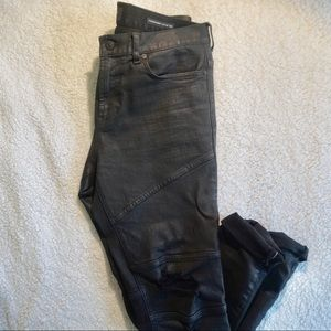 Stacked-Skinny Wax Coated & Distressed Black Jean